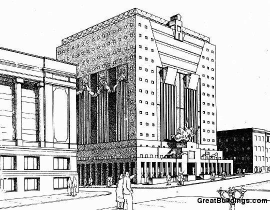 Great Buildings Drawing - Portland Building