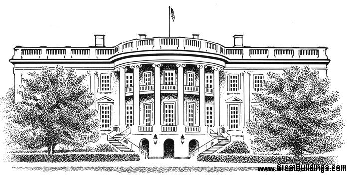 Line Art Of White House : Great buildings drawing the white house