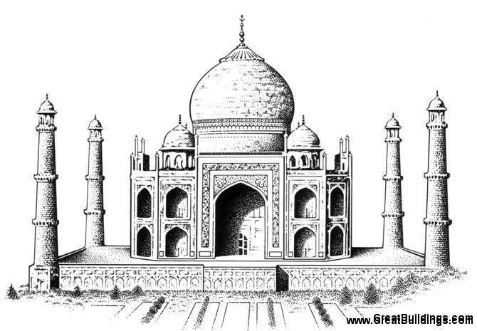 great buildings drawing taj mahal